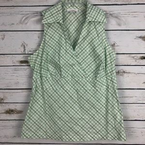 Ann Taylor Loft sz 12 sleeveless plaid wrap shirt